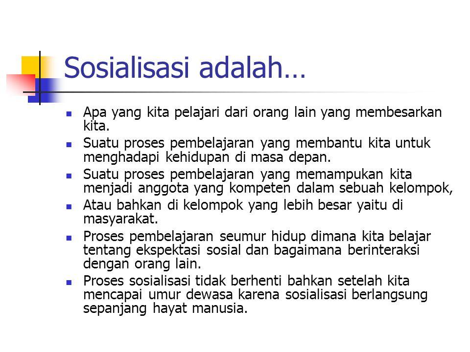 Sosialisasi adalah… Apa yang kita pelajari dari orang lain yang membesarkan kita.
