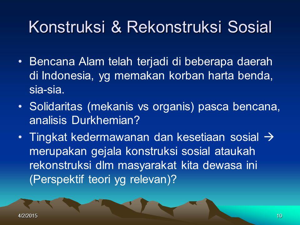 Konstruksi & Rekonstruksi Sosial