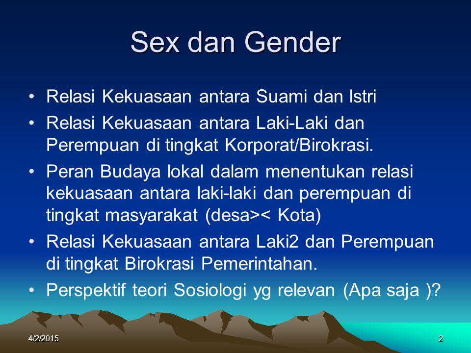 Sex dan Gender Relasi Kekuasaan antara Suami dan Istri
