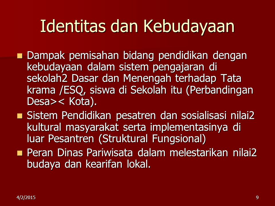 Identitas dan Kebudayaan
