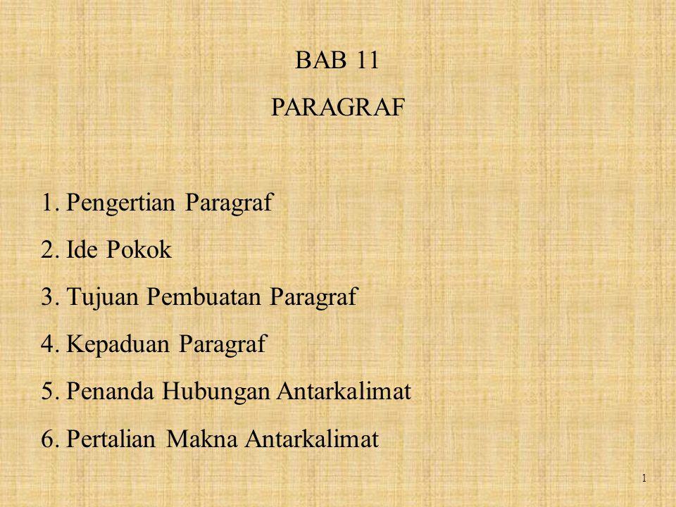 BAB 11 PARAGRAF. Pengertian Paragraf. Ide Pokok. Tujuan Pembuatan Paragraf. Kepaduan Paragraf. Penanda Hubungan Antarkalimat.