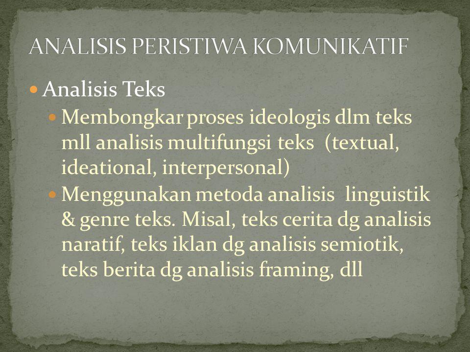 ANALISIS PERISTIWA KOMUNIKATIF
