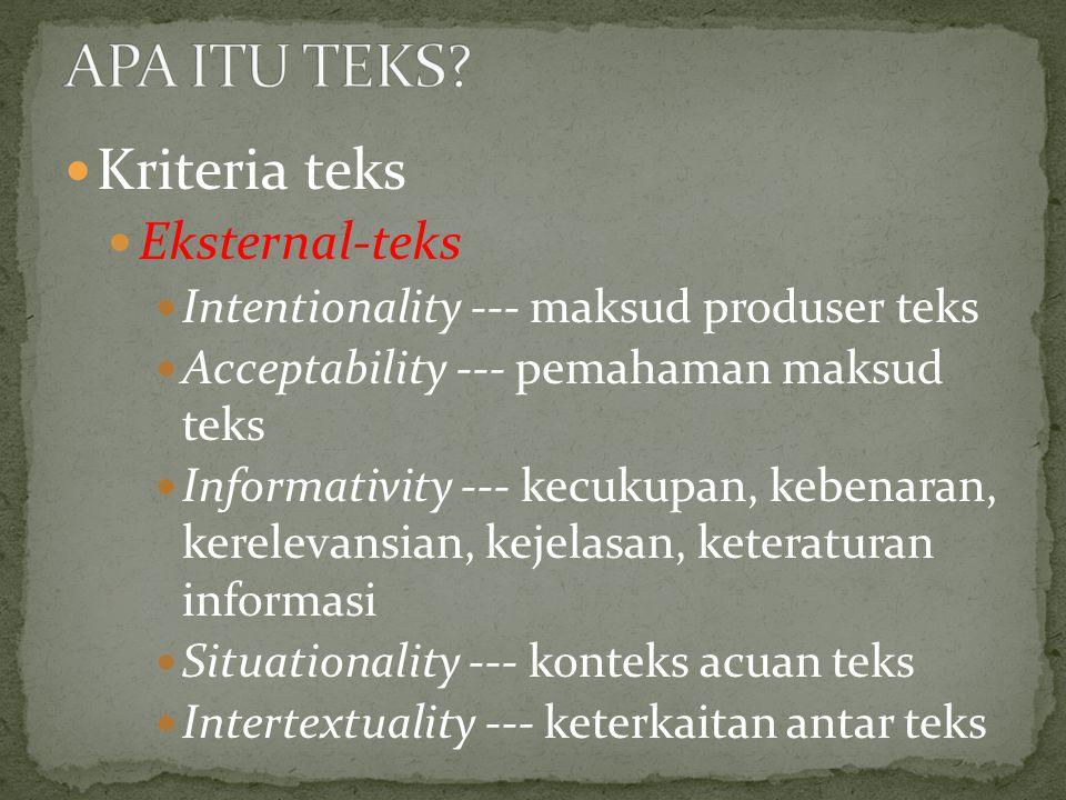 APA ITU TEKS Kriteria teks Eksternal-teks