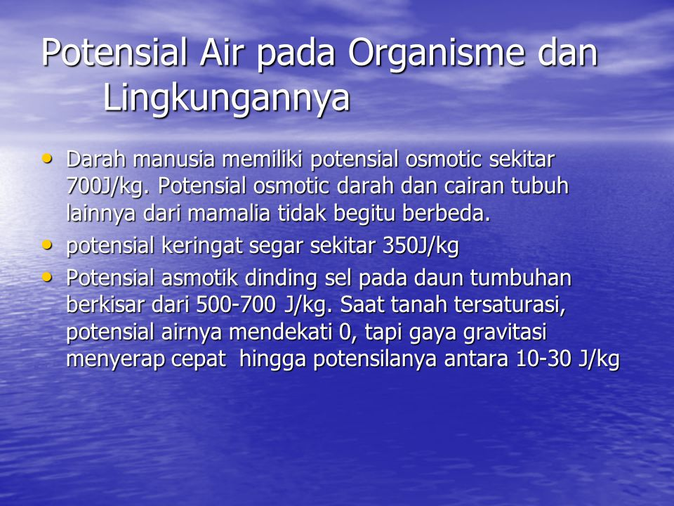 Potensial Air pada Organisme dan Lingkungannya