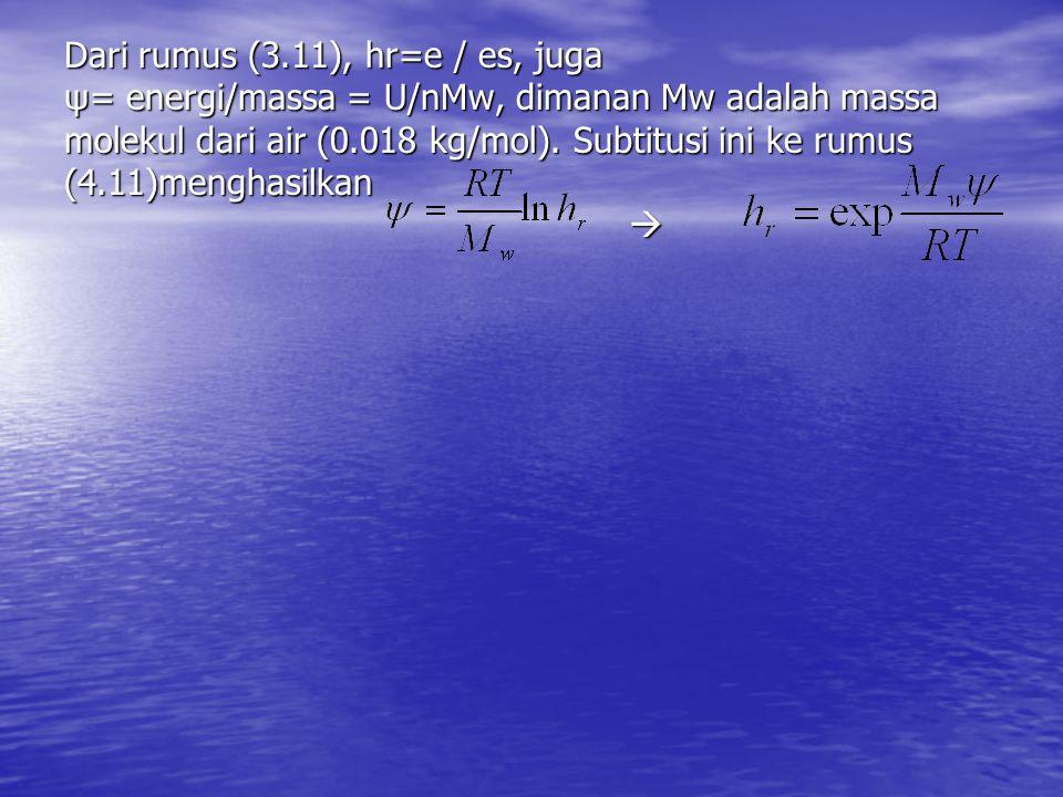 Dari rumus (3.11), hr=e / es, juga
