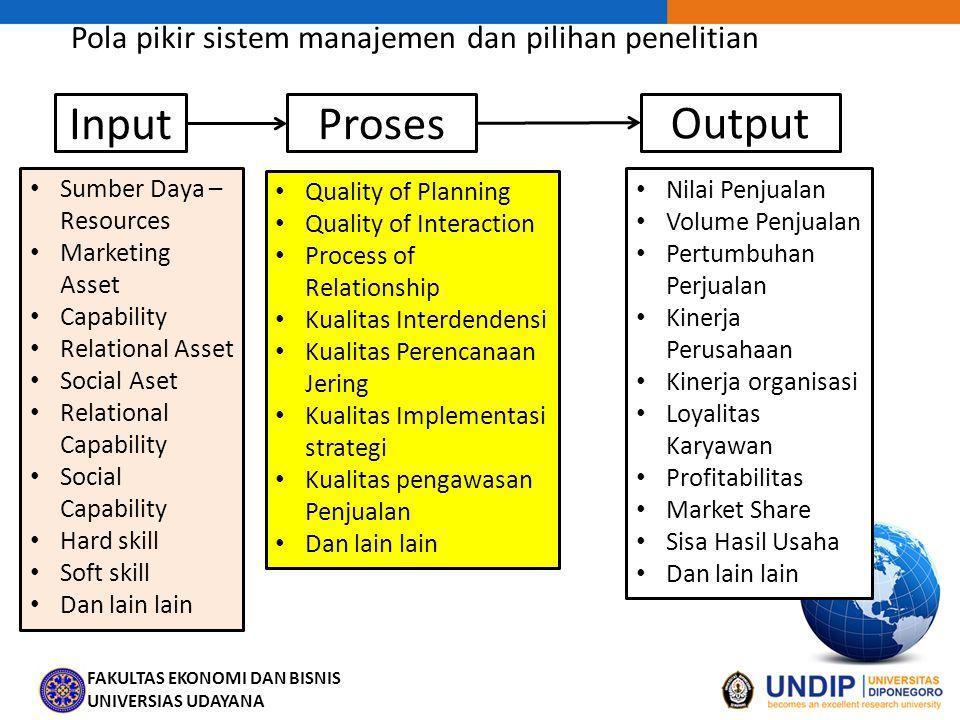 Pola pikir sistem manajemen dan pilihan penelitian
