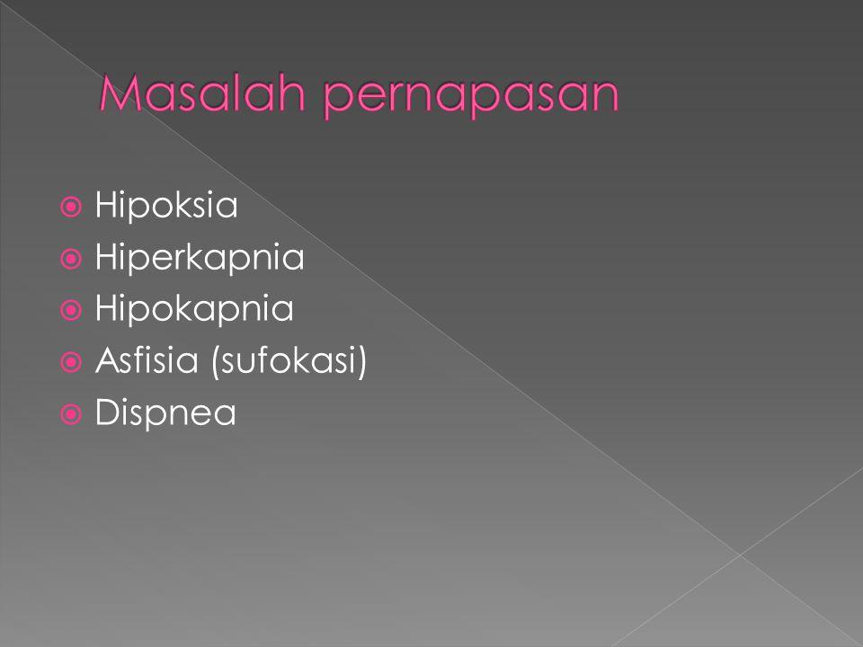 Masalah pernapasan Hipoksia Hiperkapnia Hipokapnia Asfisia (sufokasi)