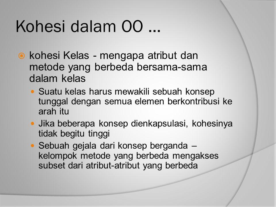 Kohesi dalam OO ... kohesi Kelas - mengapa atribut dan metode yang berbeda bersama-sama dalam kelas.