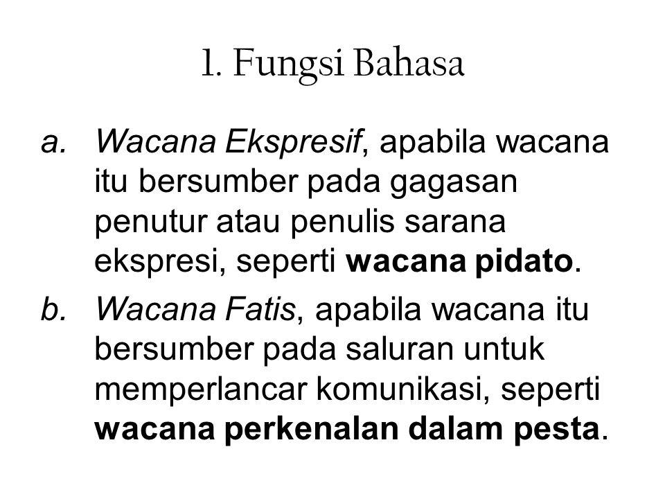 1. Fungsi Bahasa Wacana Ekspresif, apabila wacana itu bersumber pada gagasan penutur atau penulis sarana ekspresi, seperti wacana pidato.