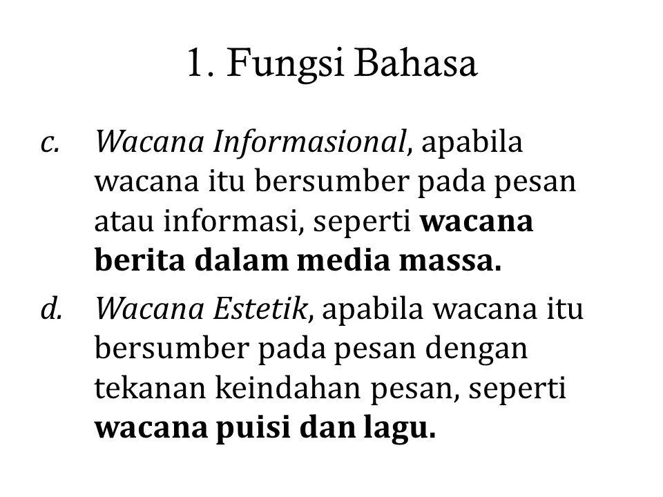 1. Fungsi Bahasa Wacana Informasional, apabila wacana itu bersumber pada pesan atau informasi, seperti wacana berita dalam media massa.