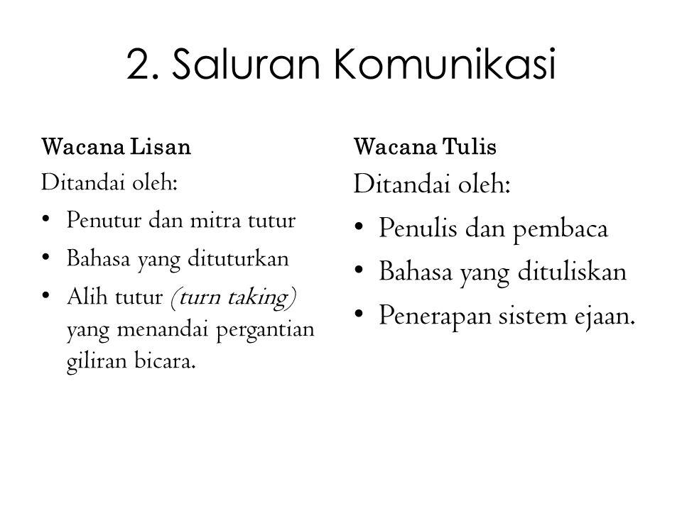2. Saluran Komunikasi Ditandai oleh: Penulis dan pembaca