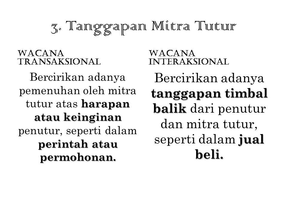 3. Tanggapan Mitra Tutur Wacana Transaksional. Wacana Interaksional.