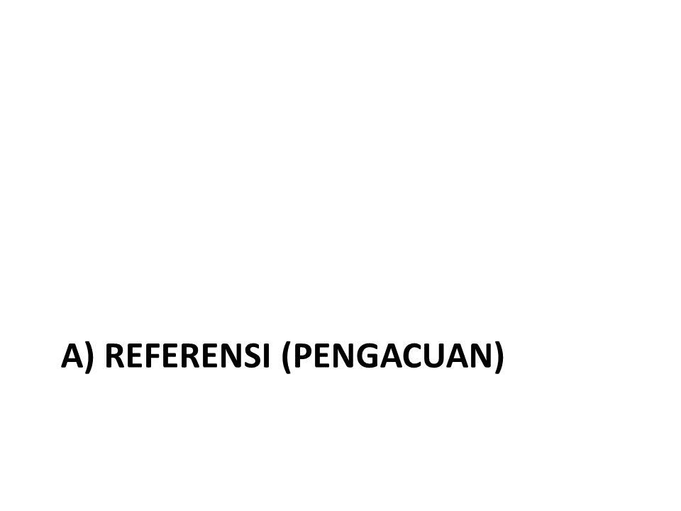 a) REFERENSI (PENGACUAN)