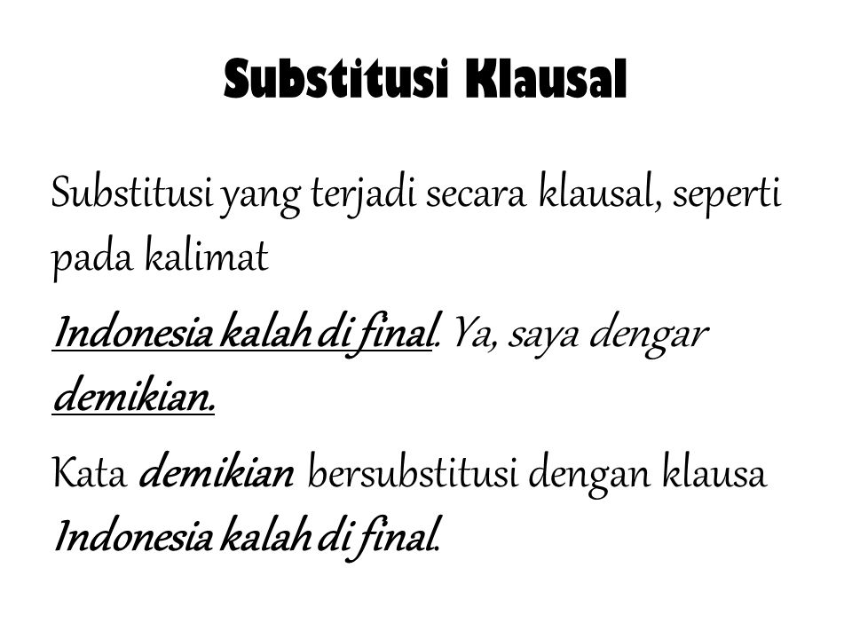 Substitusi Klausal