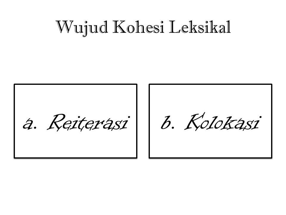 Wujud Kohesi Leksikal a. Reiterasi b. Kolokasi