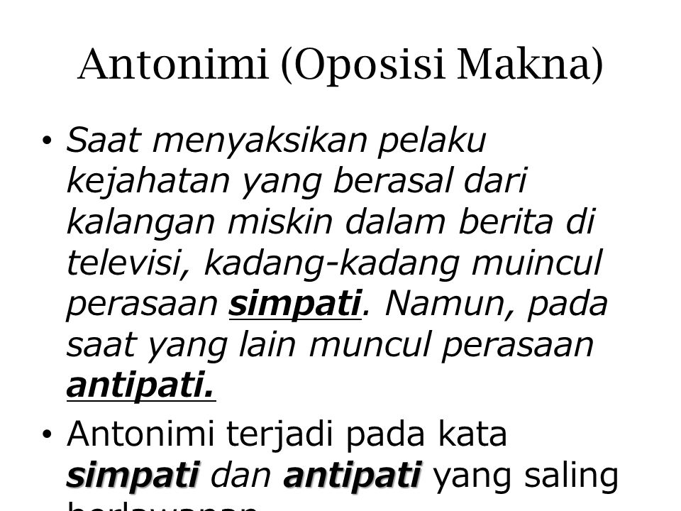 Antonimi (Oposisi Makna)