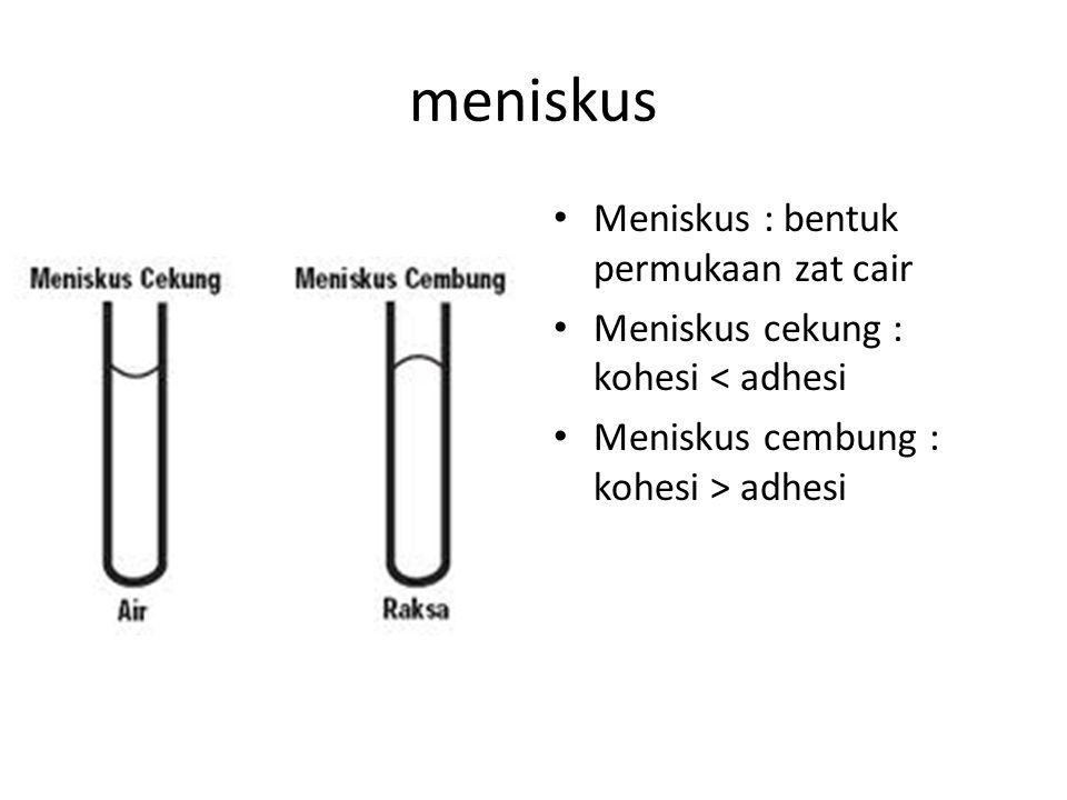 meniskus Meniskus : bentuk permukaan zat cair