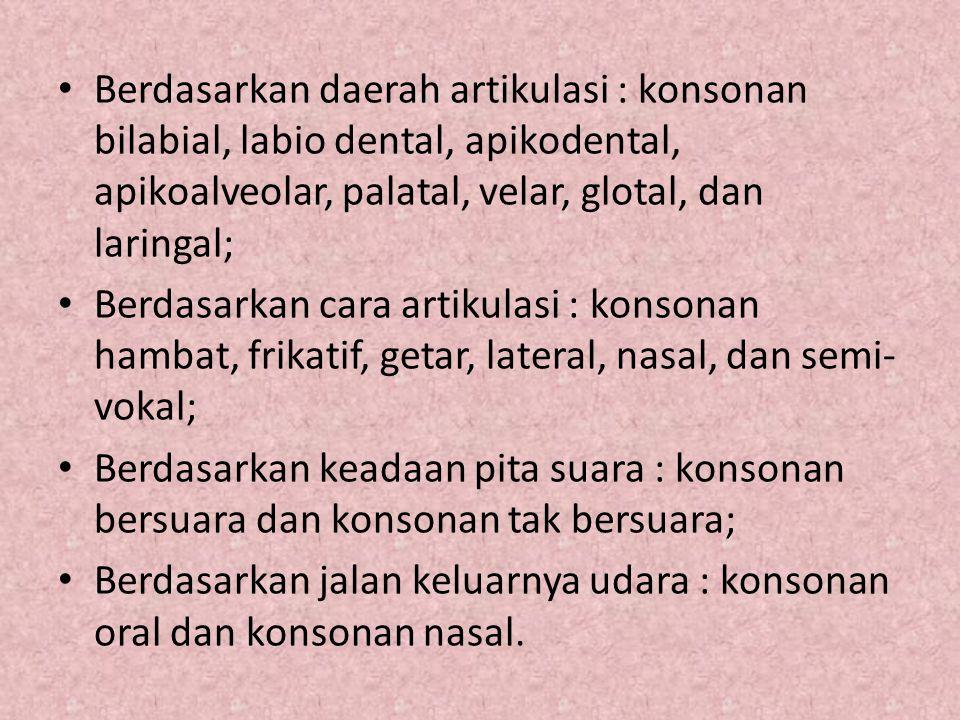 Berdasarkan daerah artikulasi : konsonan bilabial, labio dental, apikodental, apikoalveolar, palatal, velar, glotal, dan laringal;