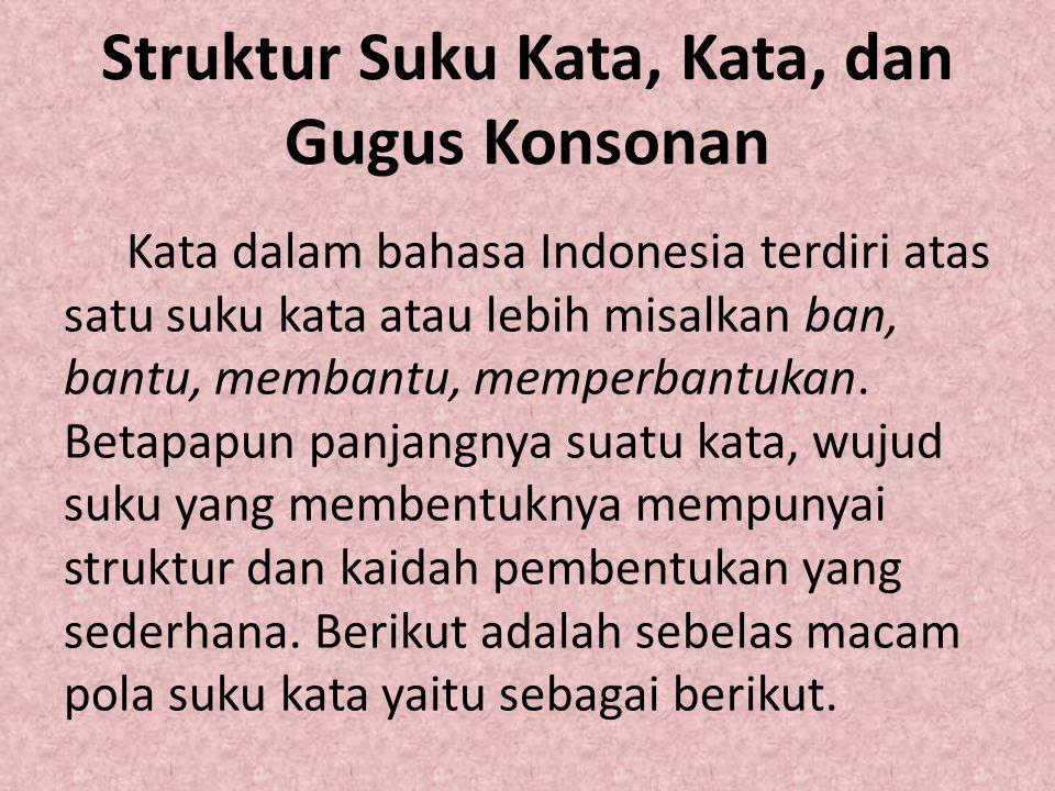 Struktur Suku Kata, Kata, dan Gugus Konsonan