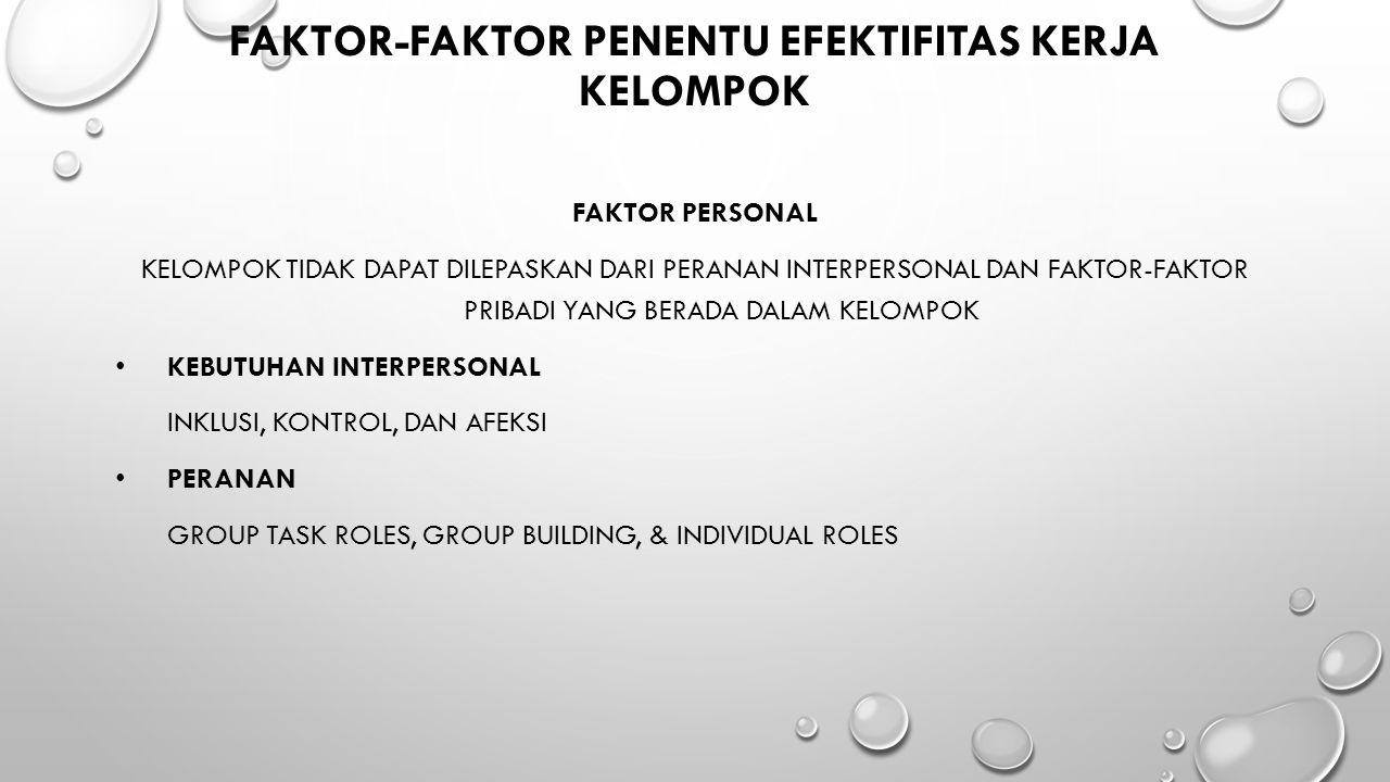 Faktor-Faktor Penentu Efektifitas Kerja Kelompok