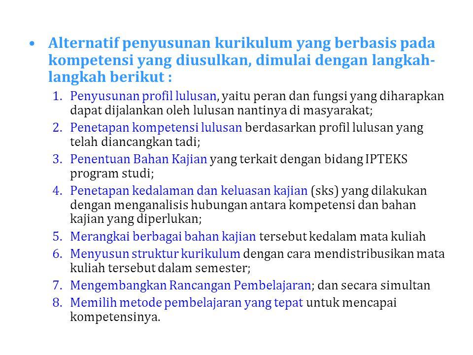 Alternatif penyusunan kurikulum yang berbasis pada kompetensi yang diusulkan, dimulai dengan langkah-langkah berikut :