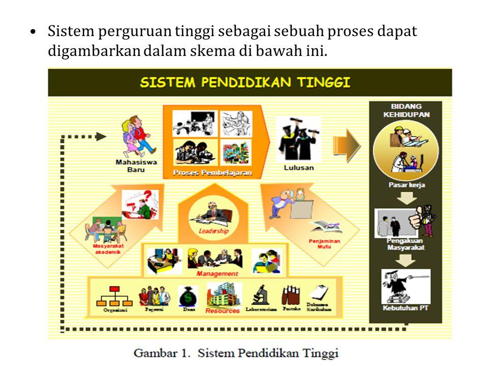 Sistem perguruan tinggi sebagai sebuah proses dapat digambarkan dalam skema di bawah ini.