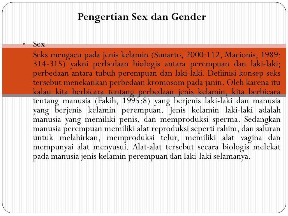 Pengertian Sex dan Gender