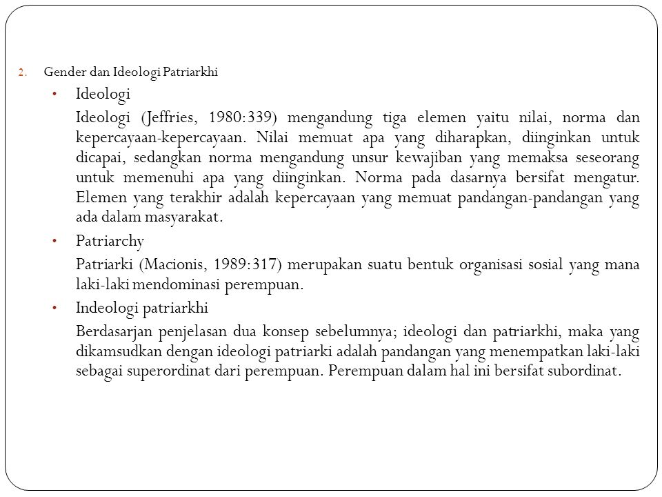 Gender dan Ideologi Patriarkhi