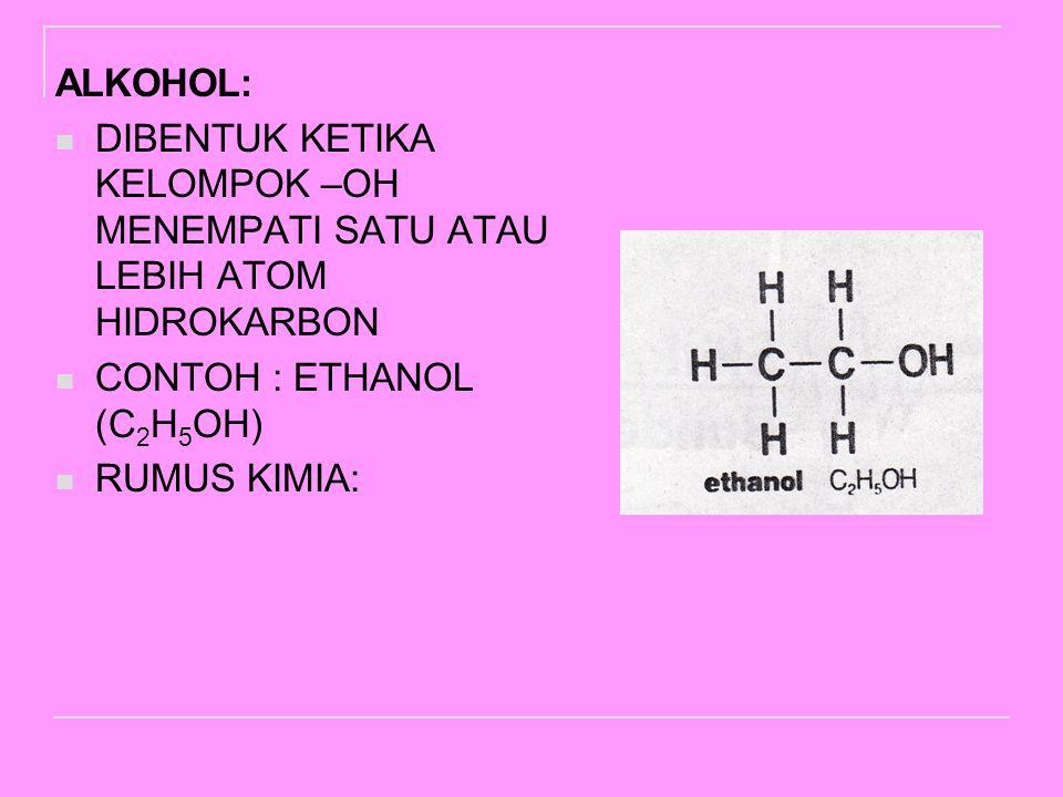ALKOHOL: DIBENTUK KETIKA KELOMPOK –OH MENEMPATI SATU ATAU LEBIH ATOM HIDROKARBON. CONTOH : ETHANOL (C2H5OH)