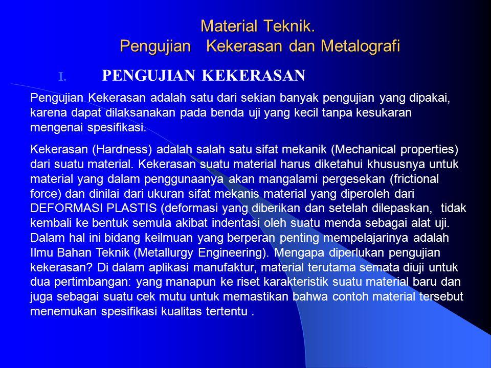 Material Teknik. Pengujian Kekerasan dan Metalografi