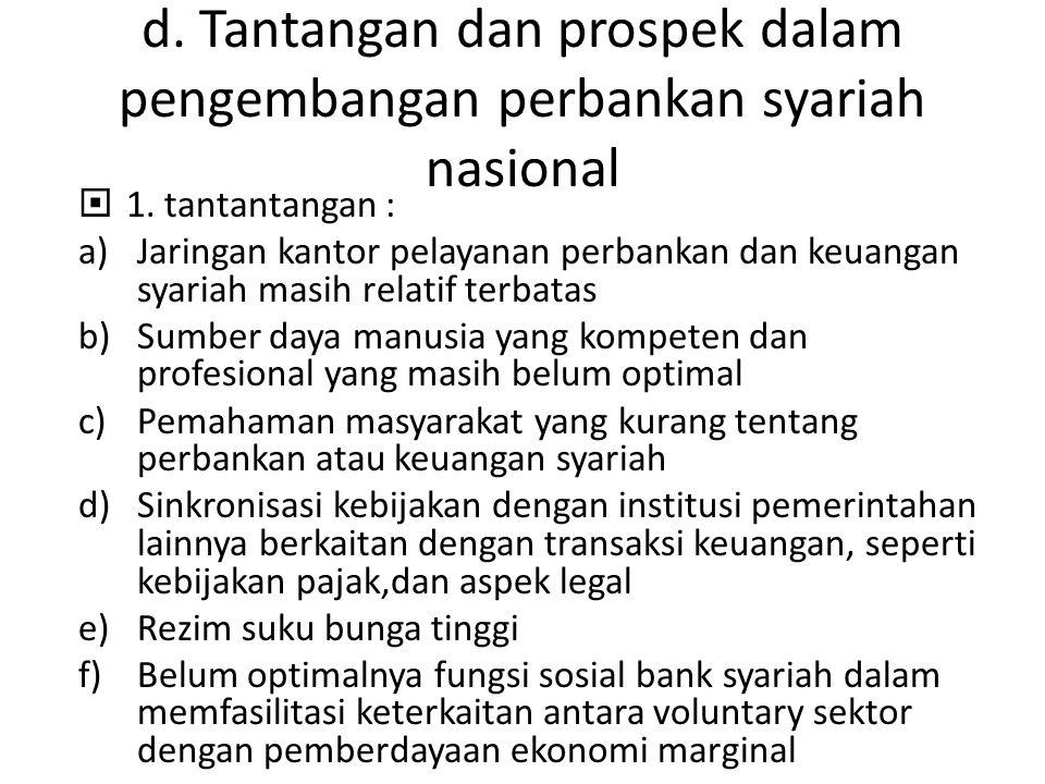 d. Tantangan dan prospek dalam pengembangan perbankan syariah nasional