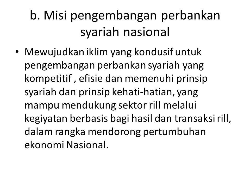 b. Misi pengembangan perbankan syariah nasional