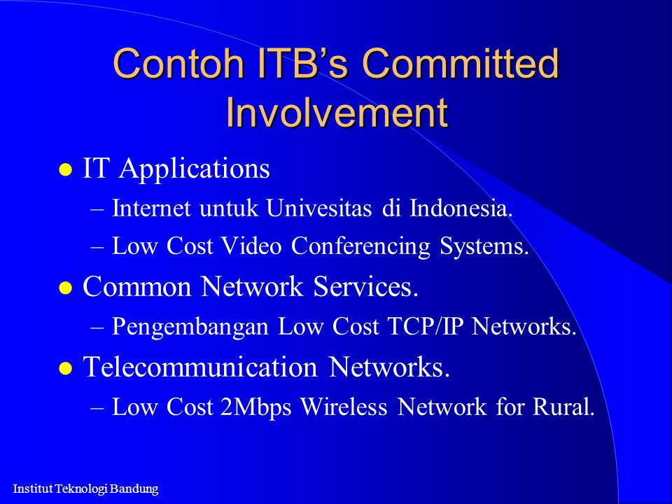 Contoh ITB's Committed Involvement