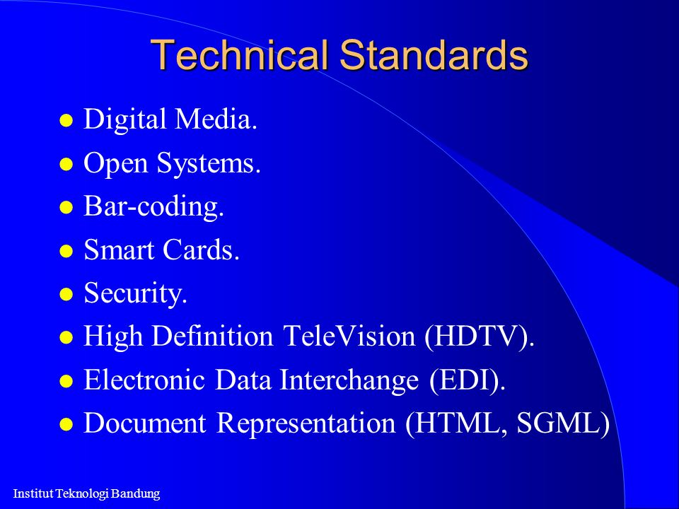 Technical Standards Digital Media. Open Systems. Bar-coding.