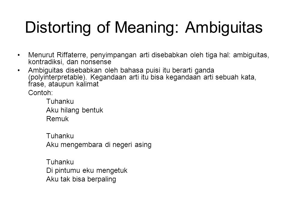 Distorting of Meaning: Ambiguitas