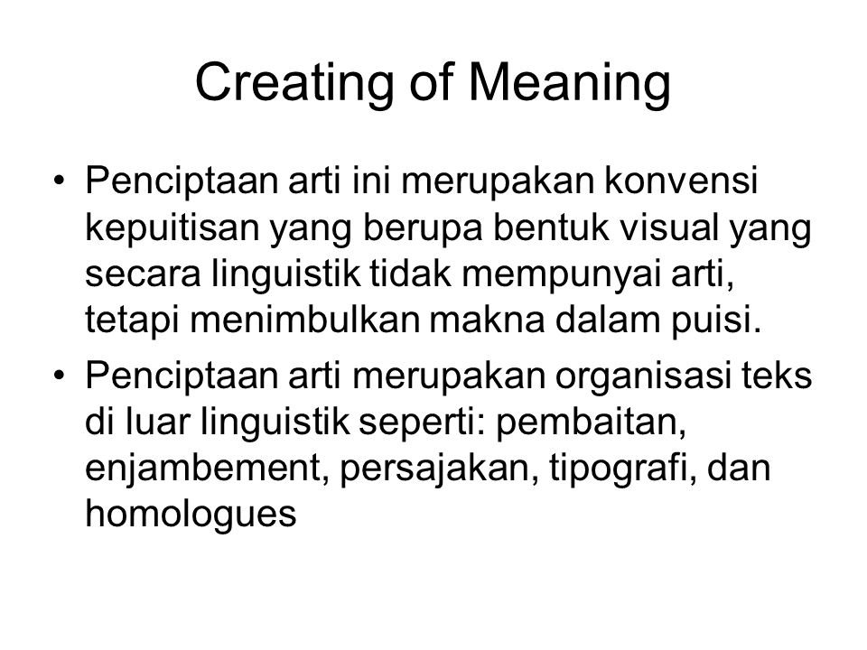 Creating of Meaning