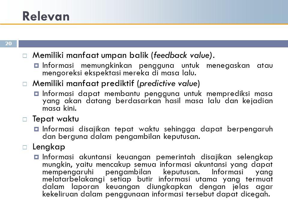 Relevan Memiliki manfaat umpan balik (feedback value).