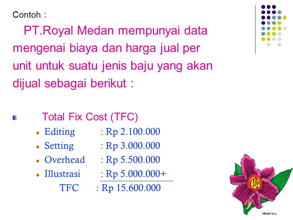 mengenai biaya dan harga jual per