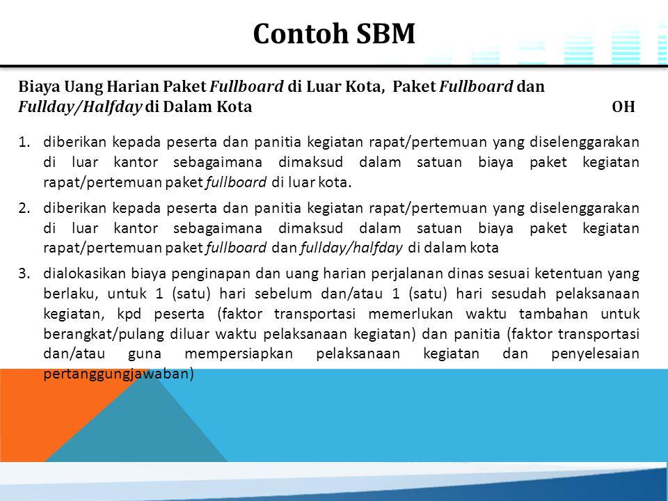 Contoh SBM Biaya Uang Harian Paket Fullboard di Luar Kota, Paket Fullboard dan Fullday/Halfday di Dalam Kota OH.