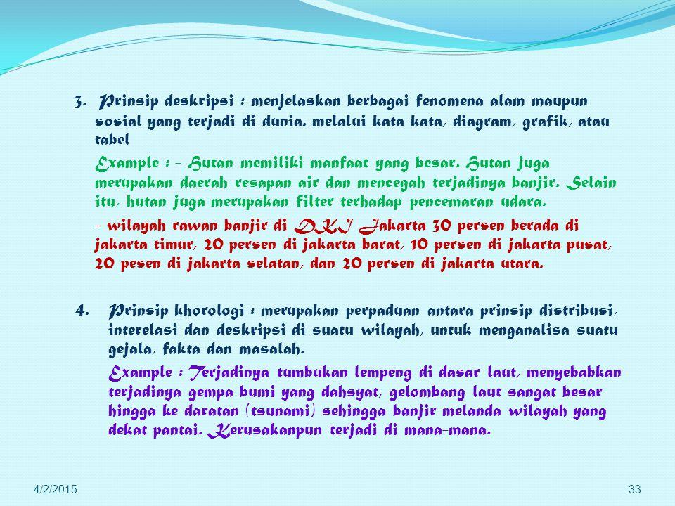 3. Prinsip deskripsi : menjelaskan berbagai fenomena alam maupun sosial yang terjadi di dunia. melalui kata-kata, diagram, grafik, atau tabel Example : - Hutan memiliki manfaat yang besar. Hutan juga merupakan daerah resapan air dan mencegah terjadinya banjir. Selain itu, hutan juga merupakan filter terhadap pencemaran udara. - wilayah rawan banjir di DKI Jakarta 30 persen berada di jakarta timur, 20 persen di jakarta barat, 10 persen di jakarta pusat, 20 pesen di jakarta selatan, dan 20 persen di jakarta utara. 4. Prinsip khorologi : merupakan perpaduan antara prinsip distribusi, interelasi dan deskripsi di suatu wilayah, untuk menganalisa suatu gejala, fakta dan masalah. Example : Terjadinya tumbukan lempeng di dasar laut, menyebabkan terjadinya gempa bumi yang dahsyat, gelombang laut sangat besar hingga ke daratan (tsunami) sehingga banjir melanda wilayah yang dekat pantai. Kerusakanpun terjadi di mana-mana.
