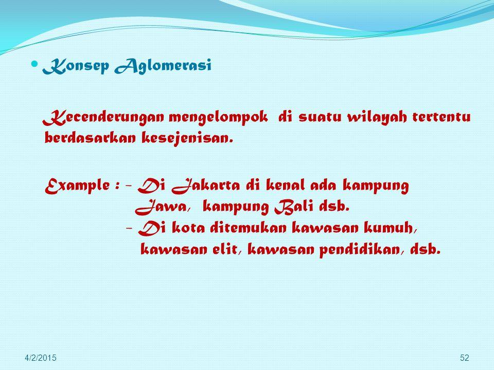 Example : - Di Jakarta di kenal ada kampung Jawa, kampung Bali dsb.