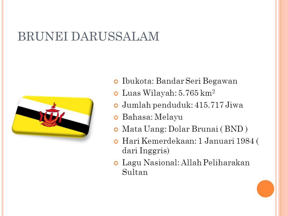 BRUNEI DARUSSALAM Ibukota: Bandar Seri Begawan Luas Wilayah: 5.765 km2