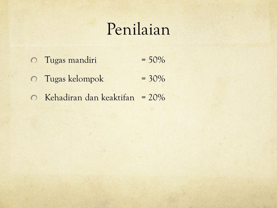 Penilaian Tugas mandiri = 50% Tugas kelompok = 30%