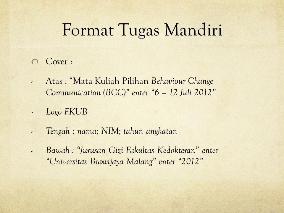 Format Tugas Mandiri Cover :
