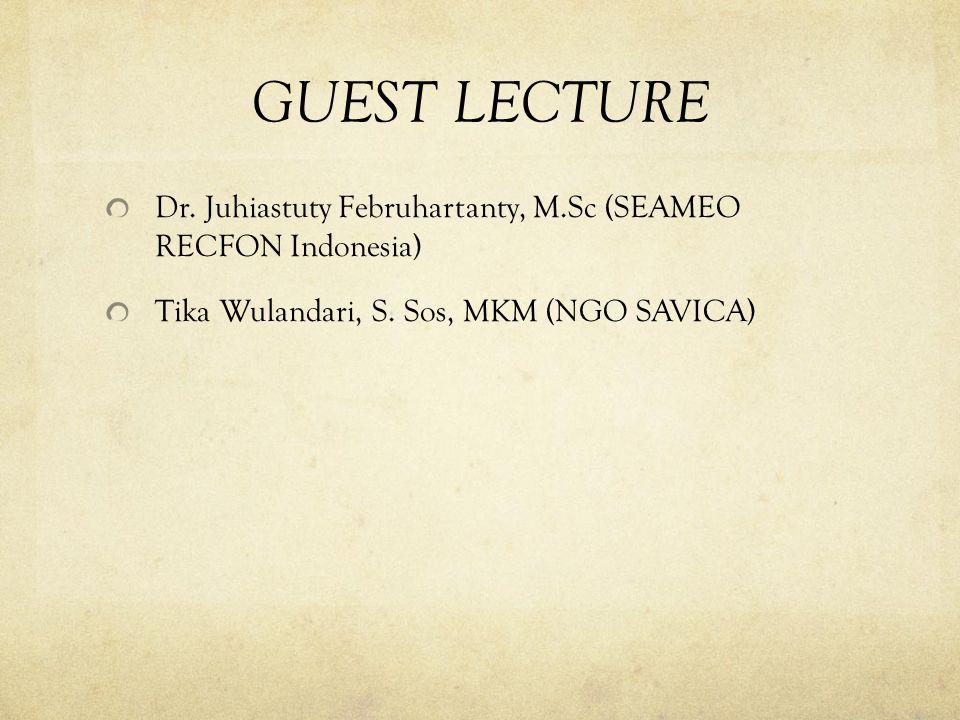 GUEST LECTURE Dr. Juhiastuty Februhartanty, M.Sc (SEAMEO RECFON Indonesia) Tika Wulandari, S.