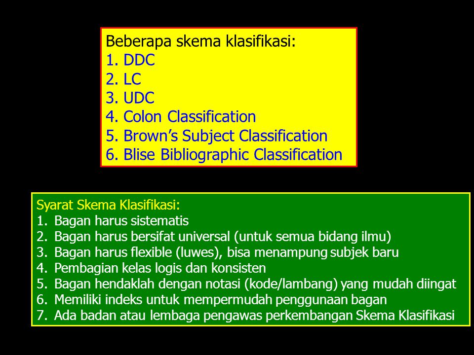 Beberapa skema klasifikasi: DDC LC UDC Colon Classification