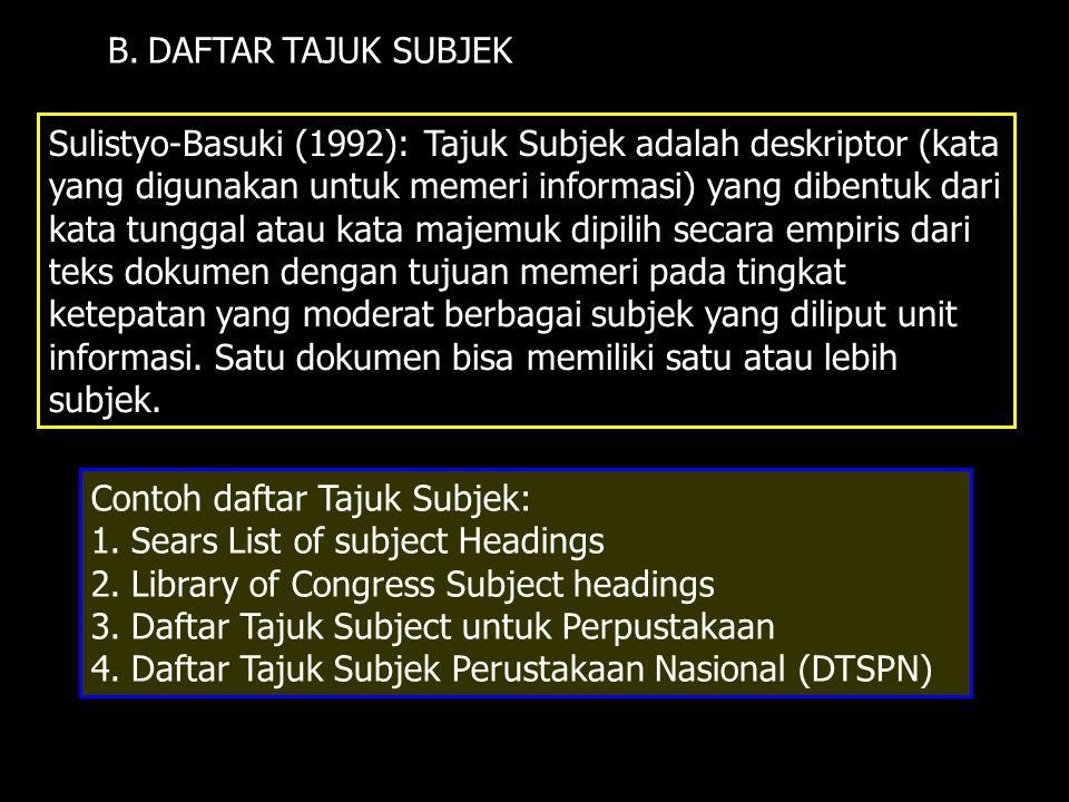 B. DAFTAR TAJUK SUBJEK