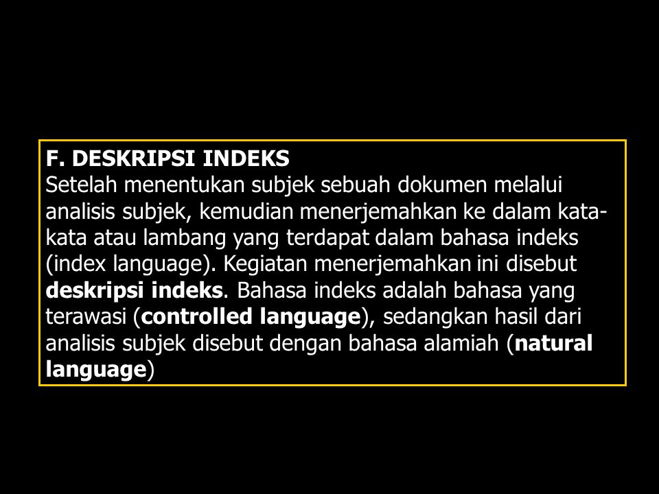 F. DESKRIPSI INDEKS