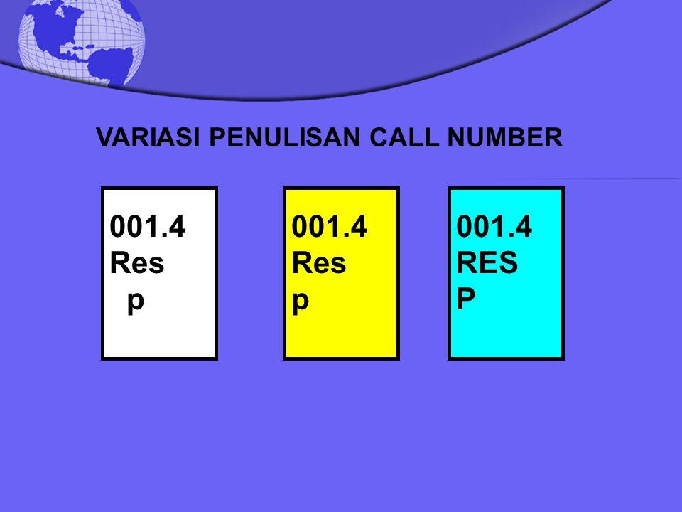 VARIASI PENULISAN CALL NUMBER