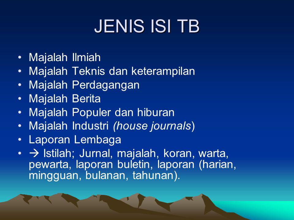 JENIS ISI TB Majalah Ilmiah Majalah Teknis dan keterampilan